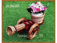 HANDMADE WICKER CANNON GARDEN FLOWER POT BASKET ORNAMENT DECORATION