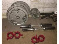 Olympics weights with olympics dumbbell bars.