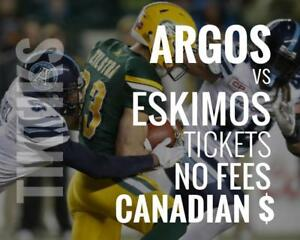 Argonauts vs Eskimos Tickets July 7 BMO Field. Canadian $, no fees, awesome customer, local company!