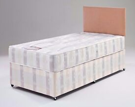 *FREE LONDON DELIVERY* NEW 3FT SINGLE DIVAN BED WITH 9& SEMI ORTHOPAEDIC MATTRESS HEADBOARD DRAWERS