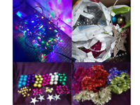 Tinsel Variety Baubles Lights Christmas Tree Decorations Great Conditi