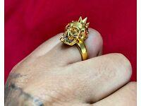 Alexander McQueen Punk Skull Gold Ring W/ Swarovski Crystals - Rrp £199.99
