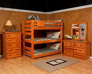 Free Delivery! Solid Pine Triple Twin (Single) Bunk Bed! Available in Kamloops