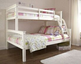BRAND NEW NOVARO 3FT SINGLE / 4FT6 DOUBLE SOLID PINE WOOD BUNK BED FRAME IN WHITE FINISH BUNKBED