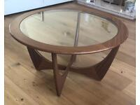 G-Plan round coffee table with glass top and teak curved legs