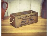 BRAND NEW Harry Potter Weasleys Wizards Weezers Joke Shop Vintage Wooden Storage Box - Small