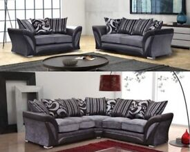LUXRY SHANNON CORNER OR 3 AND 2 SEATER SOFA, DUAL ARM CORNER, SWIVEL CHAIR BLACK GREY OR BROWN BEIGE