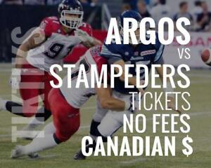 Argonauts vs Stampeders Tickets June 23 BMO Field. Canadian $, no fees, awesome customer, local company!