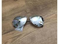 New Aviator glasses Silver Metal Frame Smoked Lens