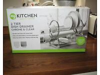 New 2 tier dish drainer & drip tray