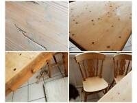 Real solid pine table and 5 chairs
