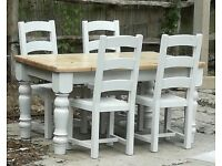Chunky Painted Pine Table & Chairs