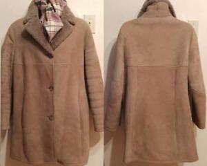 Large 14 Real Sheepskin Shearling Coat Winter Jacket 40 Free Scarf MORLANDS UK England Brown Vintage Retro Warm Women
