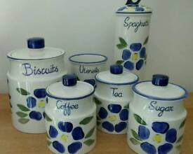 Tea coffee sugar + kitchen canisters