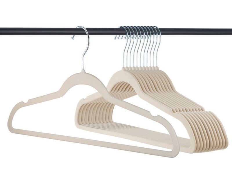 Velvet Hangers, Premium Non slip, Ivory, Clothes and Suit Hangers, 50 Pack