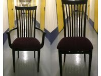 Set of 8+2 Vintage Ebonised Wood & Purple Velvet Dining Chairs & Carvers VGC Delivery at Cost