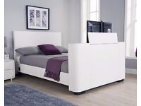 Brand new Electric white faux leather king size bedstead - brand new still in unopened boxes