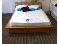 5ft king size Udine bedframe, solid pine, antique finish. Local delivery possible. Priced to clear!