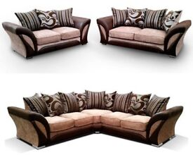 BRAND NEW SHANNON CORNER SOFA SET 3+2 or CORNER SEATER BINK/BROWN AND GREY/BLACK