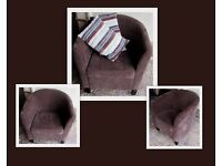 Brown fabric tub armchair looking for a new home