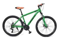 mountain bike bicycle mtb matte green brand new in box 17 inches frame 26 inches wheel 21 speed