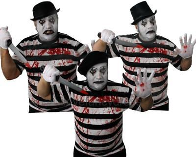 HORROR MIME COSTUME HALLOWEEN FRENCH FANCY DRESS TOP, HAT, BLOOD, PAINT, GLOVES - French Mime Halloween