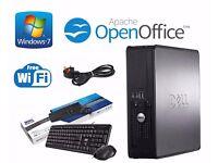 DELL OPTIPLEX 755 SFF INTELL CORE 2 QUAD 4GB RAM 250GB HDD KEYBOARD MOUSE WIFI WINDOW 7 COMPUTER