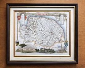 Framed county map of Norfolk 1836 by Thomas Moule. Great condition