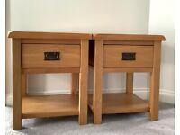 2 solid oak side tables