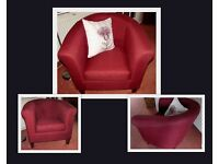 M & S quality red woven fabric tub armchair
