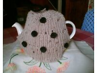 NEW HAND KNITTED TEA COSY - CHUNKY RIB WITH BLACK POMS