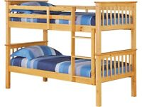 🟦✔️New single wooden bunk bed-Optional mattress