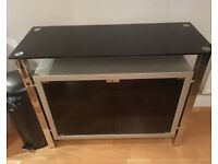 Fu-Nicha sideboard glass wood and chrome