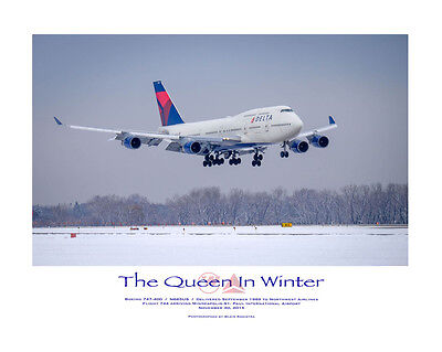 """Delta Airlines Boeing 747-400 """"Queen in Winter"""" N665US 16X20"""" photographic print"""