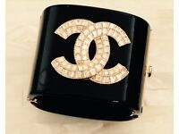 Chanel Bangle Bracelet with Crystals CC
