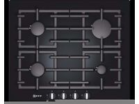 NEFF T62S26S1 4 BURNER BLACK TEMPERED GLASS GAS ON GLASS HOB