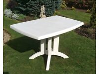 White Drop-leaf Garden/Indoor Table by Grosfillex, only used once