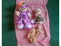 4 COLLECTABLE TEDDY BEARS - HANDMADE DRESS / OUTFIT - NEW / UNUSED