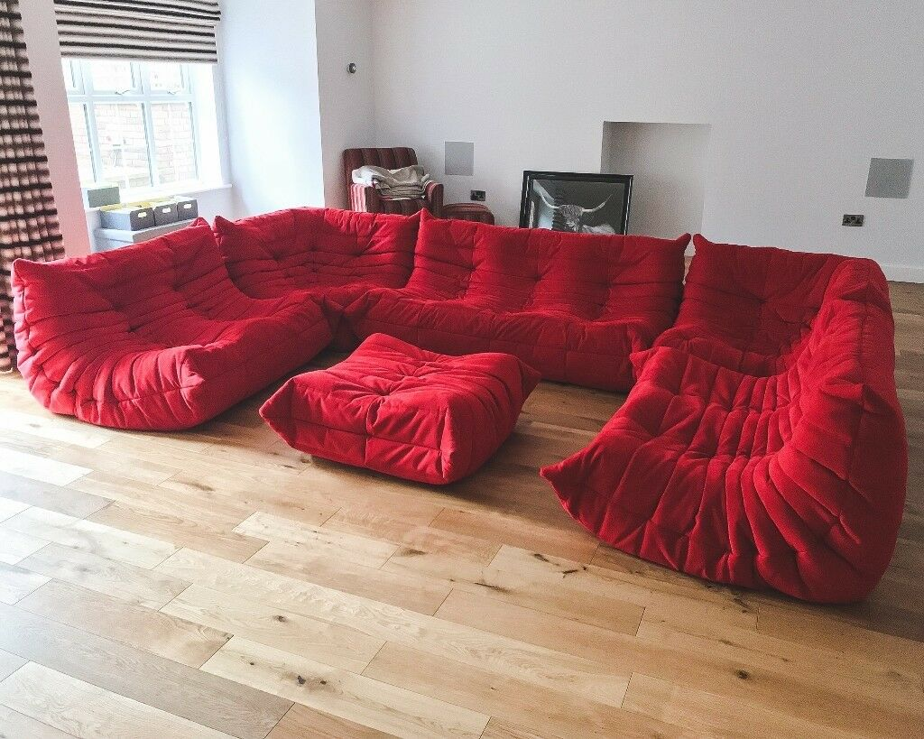 Ligne Roset Goya Red Togo Sofa Set By Michel Ducaroy   RRP £12,000 U0026 In