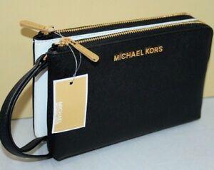 New Michael Kors Jet Set Travel Double Gusset Leather Wristlet Bag Black White