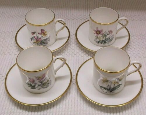 SET OF FOUR ROYAL WORCESTER DEMITASSE CUPS AND SAUCERS/MADE IN ENGLAND