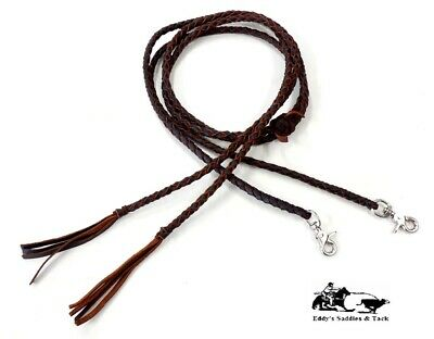 Braided Leather Split Reins 4 Plait Heavy Oiled Handmade Mexico New Free Ship Braided Split Reins