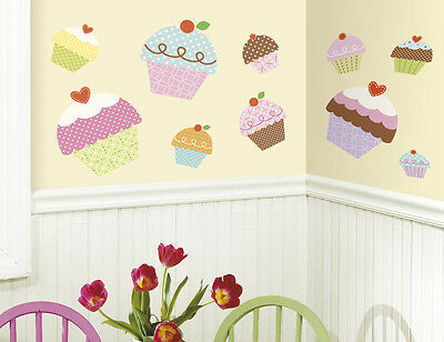 New Large CUPCAKES WALL STICKERS Girls Bedroom Baby Nursery or Kitchen Decals
