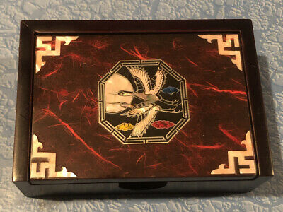 Vintage Wood Business Card Holder Asian Geese Goose Mother Of Pearl Inlay Velvet