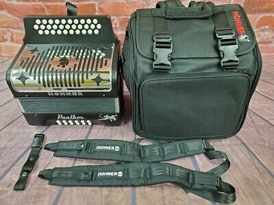 USED Hohner Panther GCF Pantera SOL Button Accordion Acordeon +Bag_Straps_TShirt