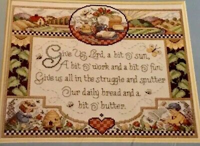 Religious  GIVE US LORD Cross Stitch Kit FARM SUNFLOWER BEE HIVE BUTTERFLY - Butterfly Farm Kit