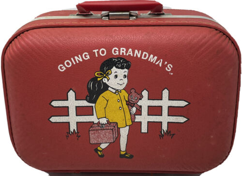 Vintage Luggage Going To Grandma s Girls Child Red Hard Case Suitcase Travel - $24.99
