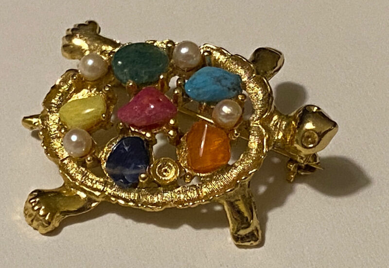 Vintage SARAH COVENTRY Gold Tone Multi Gemstone TURTLE Brooch Pin