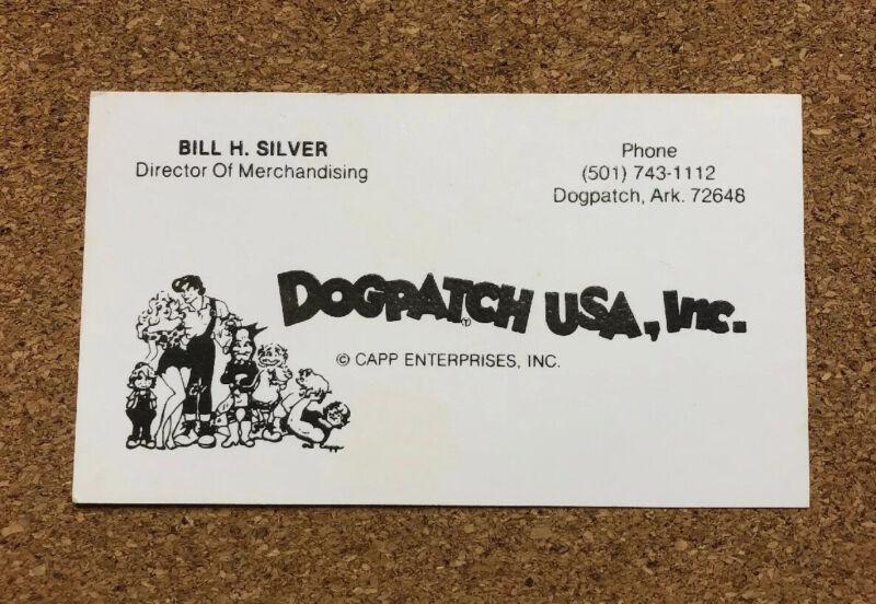 Dogpatch USA Capp Enterprises INC Arkansas Theme Park Vintage Business Card Rare