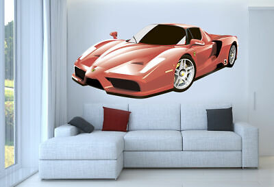 - ced351 Full Color Wall decal Sticker powerful red sports car  living room